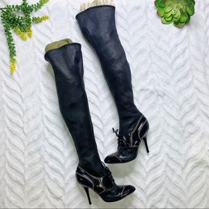 Sergio Rossi Vintage Over Knee Calf Leather Boots